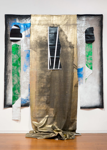 Brook Andrew Rocket Shadow, 2013; Linen, oil pastel, acrylic spray, charcoal, foil; 290 x 245 x 135 cm; enquire
