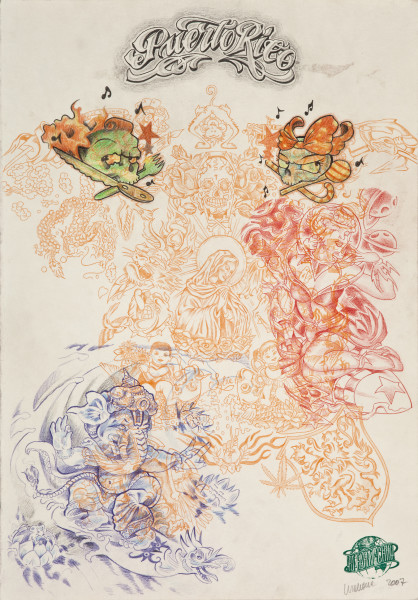Wim Delvoye Untitled (tattoo drawing #3), 2007; pencil and coloured pencil on paper; 50 x 35 cm; enquire
