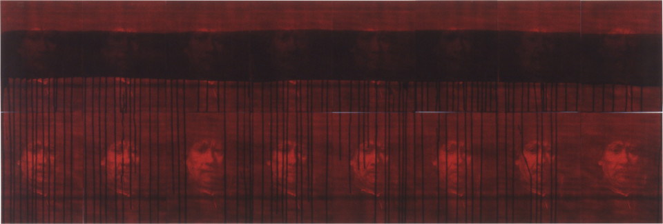Lindy Lee Untitled II (After Rembrandt van Rijn), 1987; photocopy, acrylic on stonehenge paper; 16 parts, overall size: 42 x 232 cm; enquire