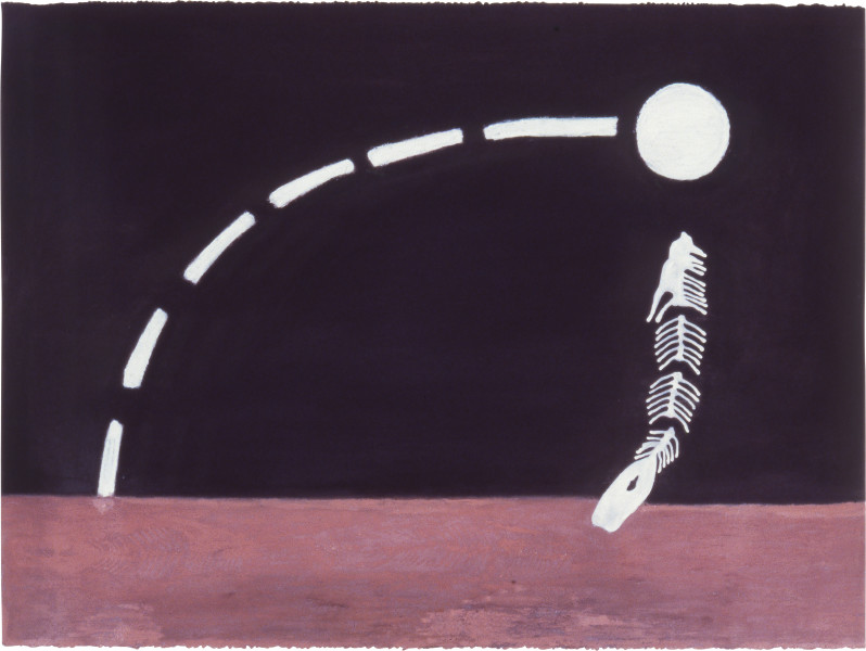 Fiona Foley Moon Fish, 1988; ink, oil crayon and pastel on paper; 56.5 x 76.5 cm; enquire