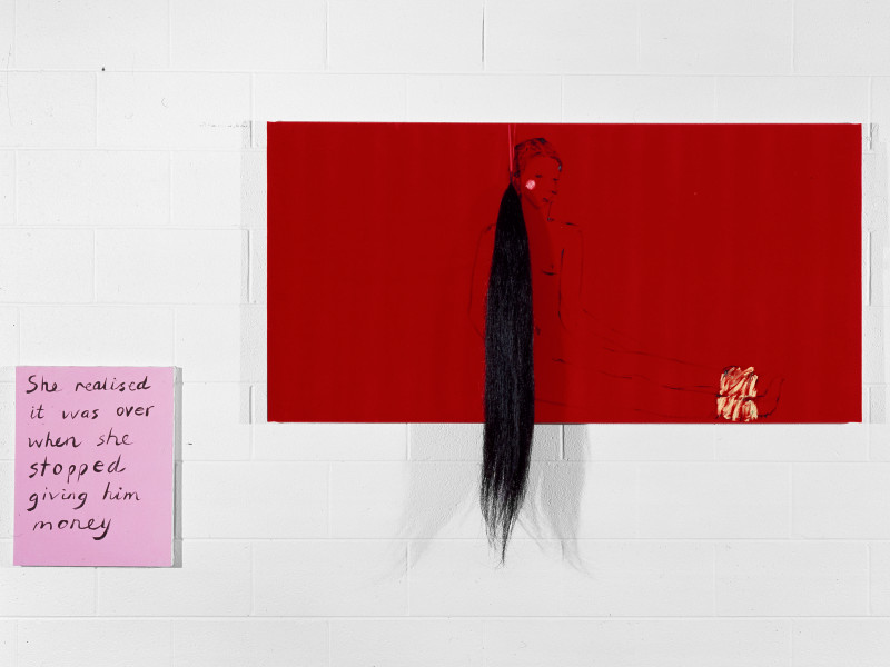 Jenny Watson Humiliation, 1992; Oil on velvet with ribbon and false horse tail; 78cm  x 151cm; 50.5cm x 40.5cm; enquire