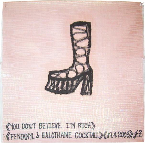 Jacqueline Fraser You don't believe I'm rich > >, 2003; from the series AN ELEGANT PORTRAIT REFINED IN ELEVEN STUDIOUS PARTS >; oil stick on fabric (framed); 32 x 32 cm; enquire