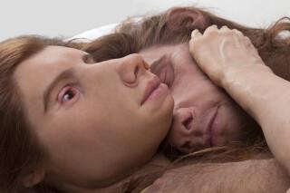Patricia Piccinini The Couple, 2018; Silicone, fibreglass, hair, cotton; 42 x 168 x 65 cm; Edition of 3 + AP 1; enquire