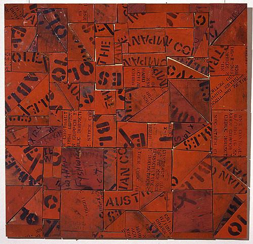 Rosalie Gascoigne Tartan, 1998; sawn wood on wood; 91 x 93 cm; enquire