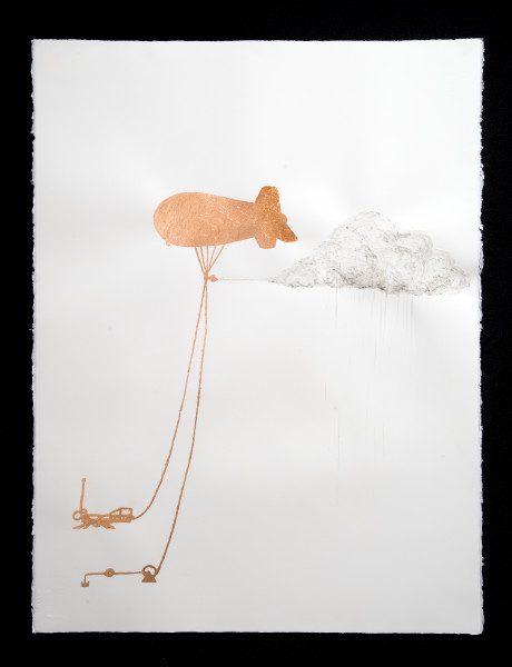 Caroline Rothwell SPICE: Stratospheric Particle Injector for Climate Engineering, 2014; Copper leaf, vehicle exhaust emission, acrylic binder on Arches hot pressed archival paper; 76 x 57cm (paper), 80.5 x 61.5cm (framed); enquire