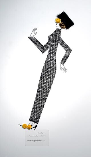 Jacqueline Fraser    , 2004; nylon hair, faux fur, Italian wool suiting, vylene stiffening, Japanese organza pleating, Yves St Laurent beaded lace; 170 x 85 x 15 cm; enquire