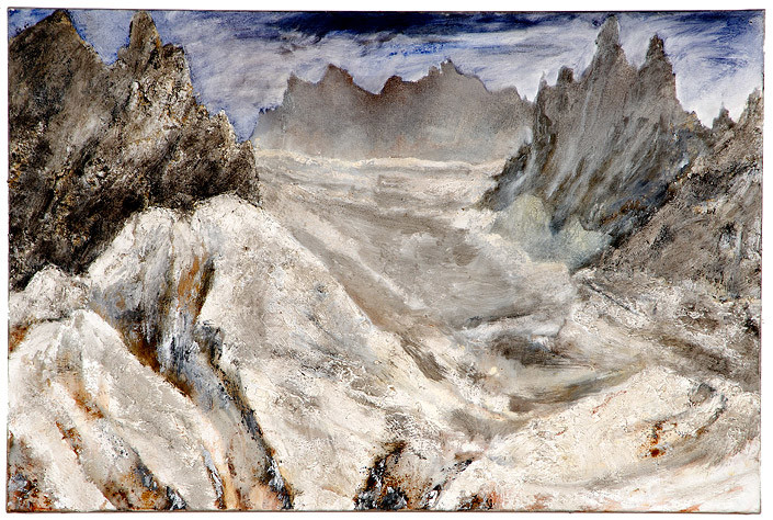 Mandy Martin Wanderers in the desert of the real; after Turner's 'Mer de Glace', 2008; Ochre, pigment, and oil on linen; 100 x 150 cm; enquire