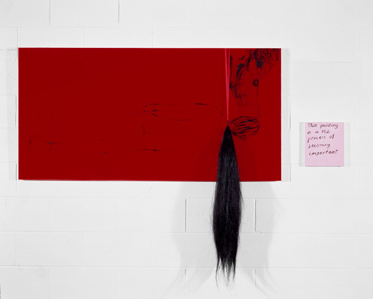Jenny Watson Pleasure, 1992; Oil on velvet with ribbon and false horse tail; 76cm  x 150cm; 25cm  x 23cm; enquire