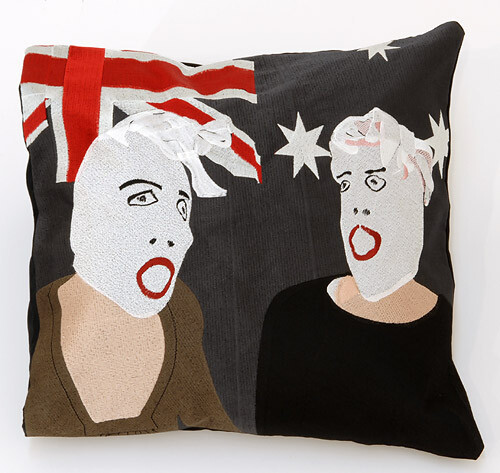 Destiny Deacon Fence sitters - cushion cover, 2007; Synthetic thread and cotton; 38 x 38 cm; Edition of 50; enquire