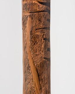 Nyapanyapa Yunupingu Lines (detail), 2019; 5177-19; natural earth pigments on hollow log; 250 x 20 x 20 cm; enquire