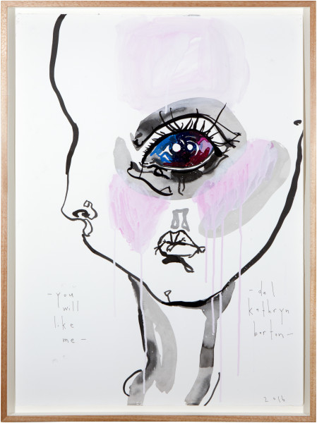 Del Kathryn Barton you will like me, 2016; archival ink and acrylic on paper; 82 x 61 cm; (framed); 76 x 56cm (paper size); enquire