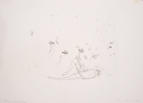 Tracey Emin Helicopter gun fire, 1997; black ink on paper; 30 x 42 cm; enquire