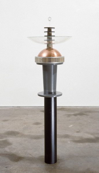 Robert Owen On Seeing & Hearing (for Judy), 1985; plastic, glass, copper, rubber, crystal; 127 x 38 x 38 cm; enquire