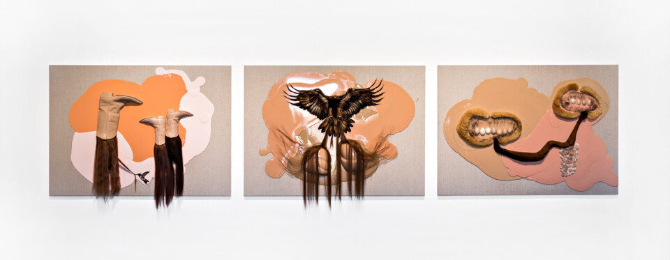 Patricia Piccinini The Avian Trilogy (Eagle in flight with helmets), 2017; silicone and hair on linen; 100 x 140 cm; enquire