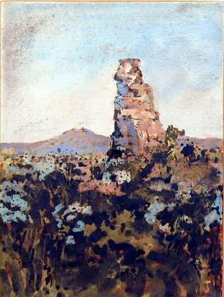 Mandy Martin White Stallion from Carnarvon Station, 2002; pigment, ochre, hematite, mica, wax medium & acrylic binder on paper; 40 x 30 cm; enquire