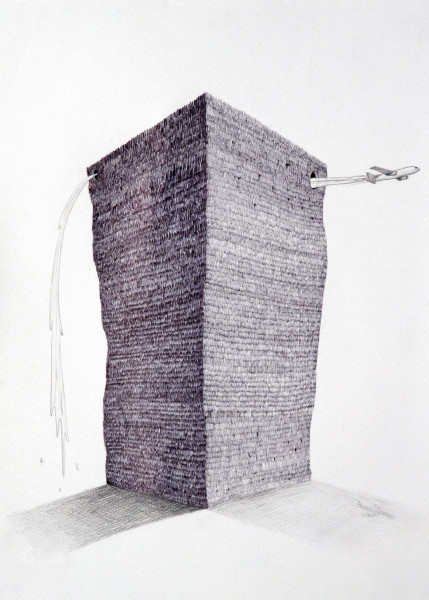 Teppei Kaneuji Tower #3, 2009; Ball-point pen & pencil on paper; 41 x 31 cm; enquire