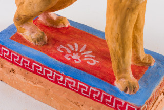 Linda Marrinon Empire sphinx (detail), 2020; painted terracotta; 34 x 23 x 12 cm; enquire