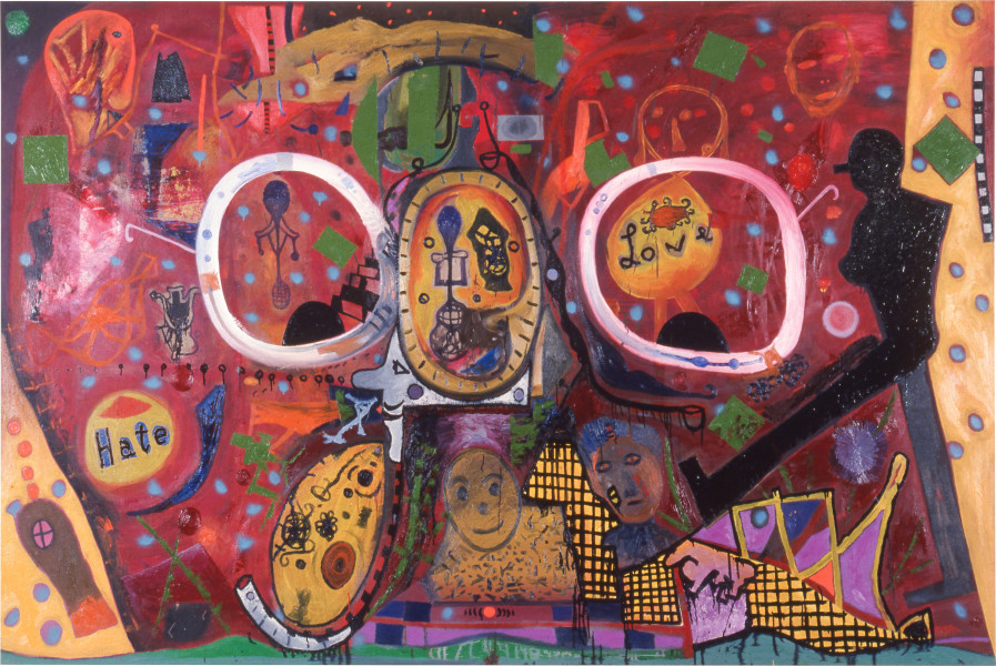 Gareth Sansom The Look of Love, 1989; oil and enamel on linen; 167.6 x 259 cm; enquire