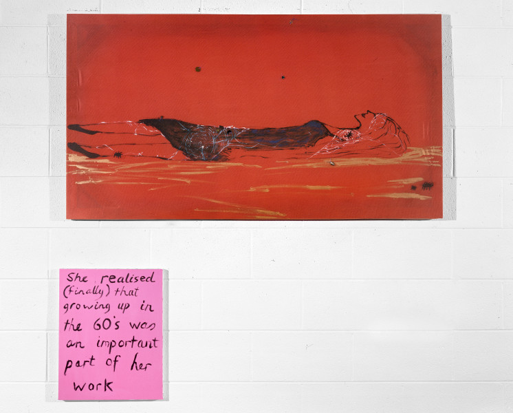 Jenny Watson Left For Dead, 1992; Oil on taffeta with netting and sequins plus synthetic polymer paint on stretcher; 79cm x 146cm; 50.5cm x 40.5cm; enquire