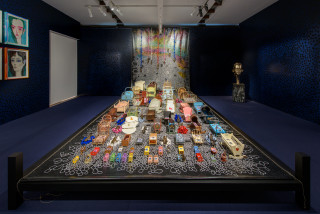 Del Kathryn Barton i wanted too build a bed for all the tired beds, 2019; acrylic on French linen, bronze, dupion silk, timber, twine and found objects; 370 x 650 x 340 cm; enquire