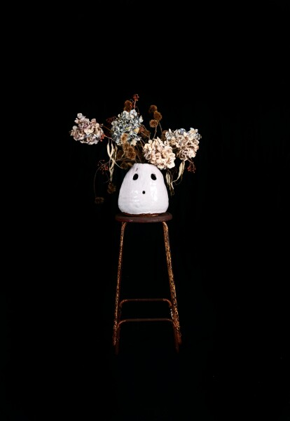 Nell Over time best friends dry out like flowers, 2014-15; The Wake No. 1; stoneware, glaze, dried flowers, metal stool; 123 x 60 x 60 cm; object : 25.5 x 24.5 x 24 cm; stool : 66.5 x 35 x 35 cm; enquire