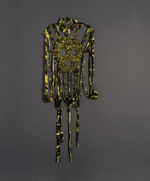Fiona Hall Cosmic Person, 2012; Indian military shirt ('palm frond' camouflage pattern) ; 149 x 56 x 9 cm; enquire