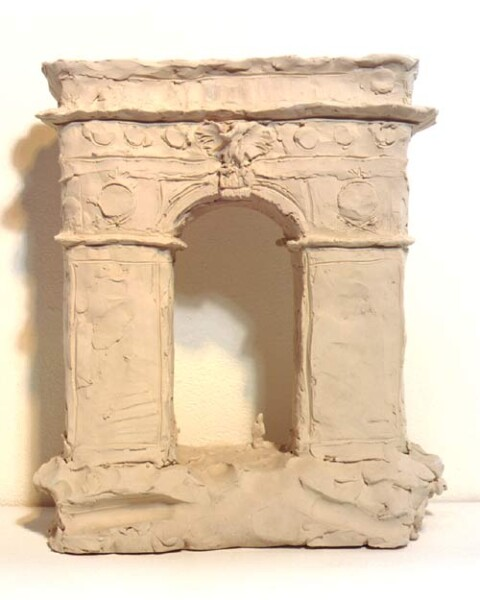 Linda Marrinon Washington Square Arch, Stanford White, architect, 1998; from the series Sculpture For The Home; White terracotta; 32.5 x 28 x 12 cm; enquire