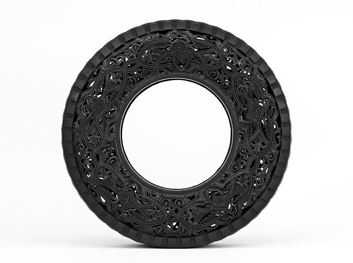 Wim Delvoye Untitled (Car Tyre) 7, 0; handcarved car tyre; 81.5 x 81.5 x 17 cm; enquire