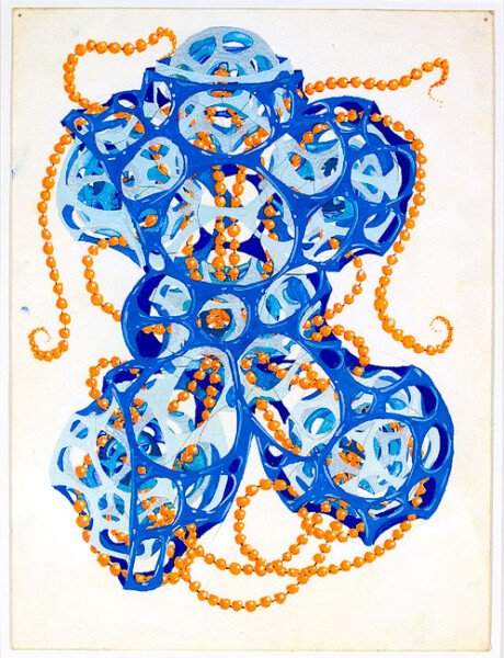Rohan Wealleans 6 point growth with orange beads a.k.a the robot torso, 2008; gouache on paper; 30 x 23 cm; 48.5 x 40cm (frame); enquire