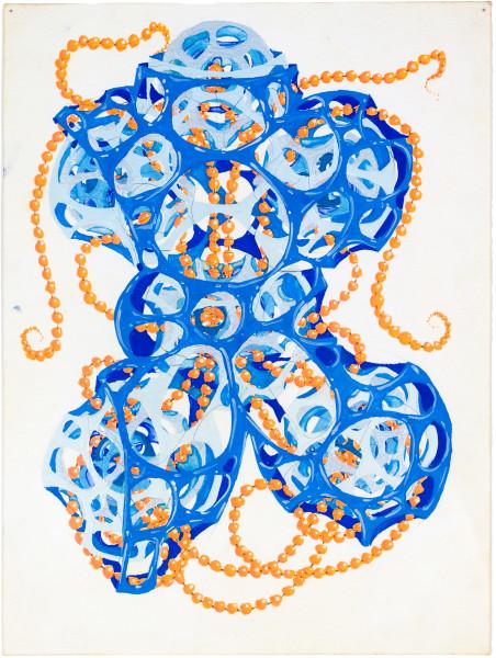 Rohan Wealleans 6 point growth with orange beads a.k.a the robot torso, 2008; gouache on paper; 30 x 23 cm; 48.5 x 40cm (frame); enquire