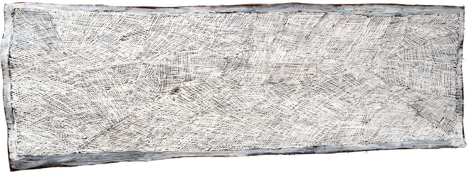 Nyapanyapa Yunupingu 15. White Painting #2, 2009; 3579R; Natural earth pigments on bark; 162 x 56 cm; enquire