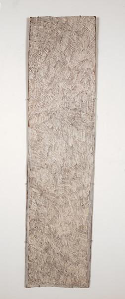 Nyapanyapa Yunupingu 16. Untitled, 2013; 4276O; natural earth pigments on bark; 163 x 40 cm; enquire