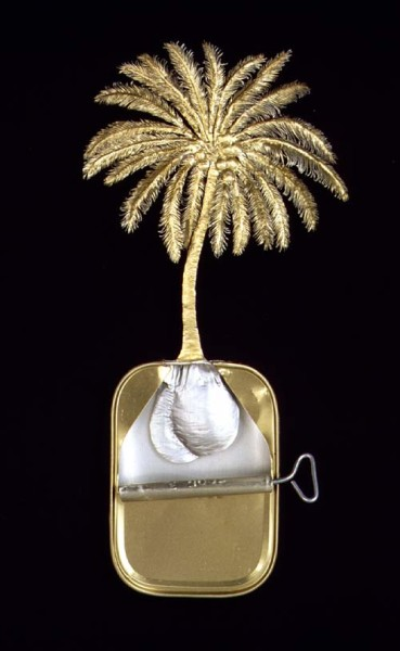 Fiona Hall Pol (Sinhala), Thennai (Tamil) / Cocos nucisera / Coconut palm, 1999; from the series Paradisus Terrestris; aluminium & tin; 26 x 18 x 4 cm; enquire