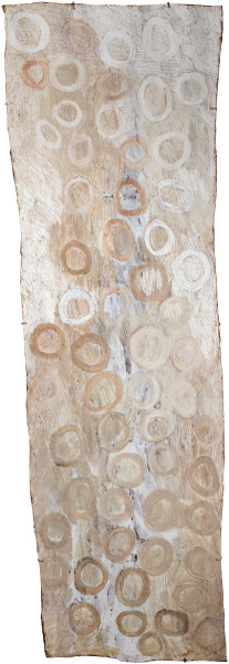 Nyapanyapa Yunupingu Circles, 2016; 2358-16; natural earth pigments on bark; 213 x 70 cm; Enquire