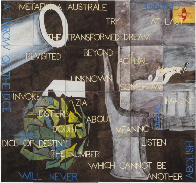 Imants Tillers Baldessari's Artichoke, 2018; synthetic polymer paint, gouache on 24 canvasboards, nos. 108047–108070; 141.5 x 151 cm; enquire