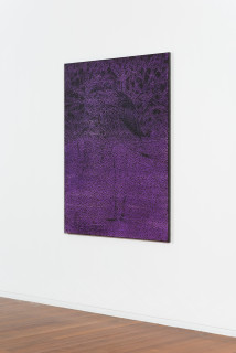 installation view; Daniel Boyd Untitled (EWTSACOD), 2020; oil, acrylic, charcoal and archival glue on canvas; 150 x 120 cm; enquire