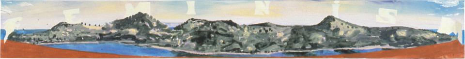 Geoff Lowe Tower Hill with Feminism, 1990; synthetic polymer paint on linen; 31 x 244 cm; enquire