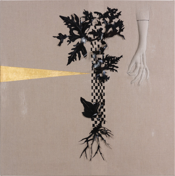 Caroline Rothwell Arrangement for The Galapagos (Pteris pedata, after Darwin), 2018; Belgian linen, PVC, 23 carat gold, hydrostone, gesso, mixed media; 107 x 107 cm; AUD 10,000.00; Enquire