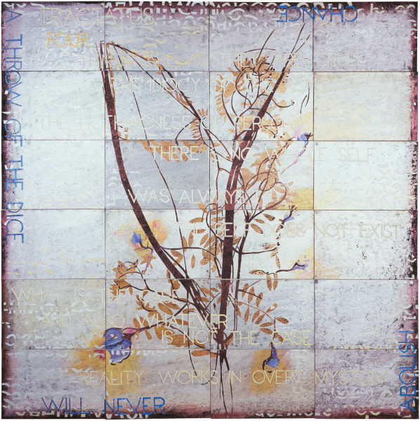 Imants Tillers Tractatus 4, 2009; acrylic, gouache on 24 canvasboards, no. 85381 - 85404; 153 x 153 cm; enquire