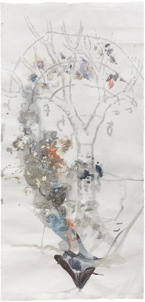 John Wolseley The Power of Movement in Plants - Dioscorides' Yam with Leonardo's Tree, 2015; watercolour, graphite, oil paint and plant material on paper; 235.5 x 114 cm; Enquire