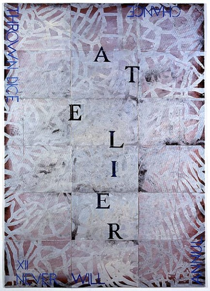 Imants Tillers Atelier XII, 2002; synthetic polymer paint, gouache on 18 canvasboards, nos. 72716 - 72733; 152.4 x 106.7 cm; enquire