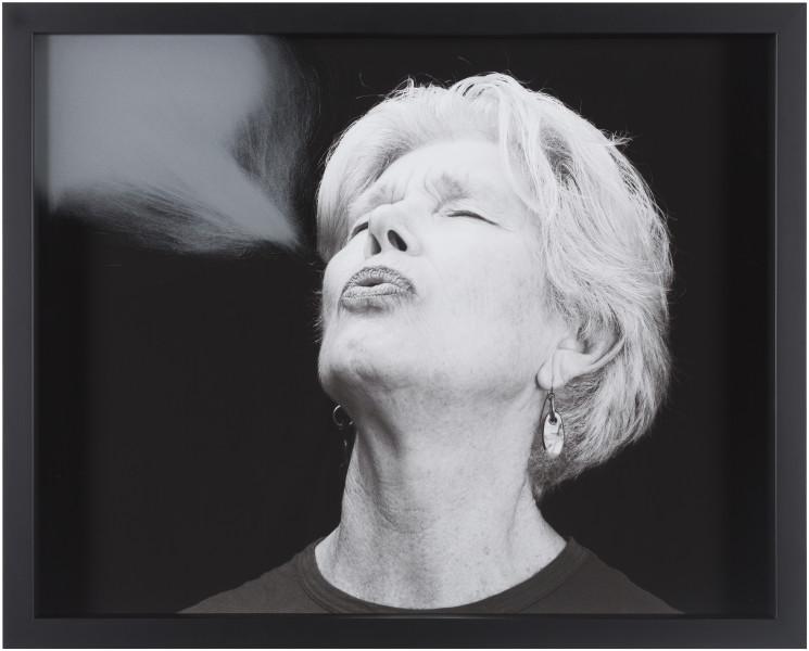 Julie Rrap Blow Back #1, 2018; digital print and handground glass; 52 x 64 cm; Edition of 3 + AP 1; enquire