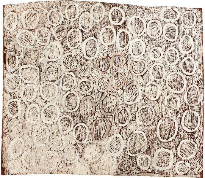 Nyapanyapa Yunupingu Circles, 2011; 4016Q; natural earth pigments on bark; 79 x 92 cm; enquire