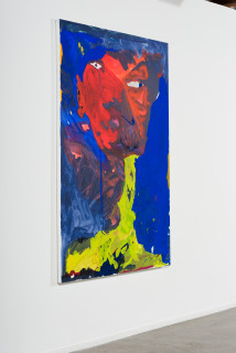 installation view; Tom Polo so into you, so into view (precarious neck), 2021; acrylic and Flashe on canvas; 182 x 132 cm; enquire