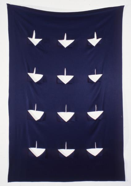 Robert Jacks Hanging Grid, Points, 1970; cut felt (black); 273 x 176 cm; enquire