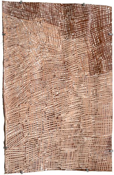 Nyapanyapa Yunupingu Untitled, 2015; 4802W; natural earth pigments on bark; 52 x 33 cm; enquire