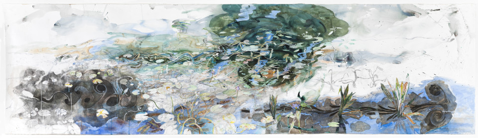 John Wolseley The life of inland waters – Durabudboi river, 2015-18; watercolour, graphite, woodcut on paper; 124 x 445 cm; enquire