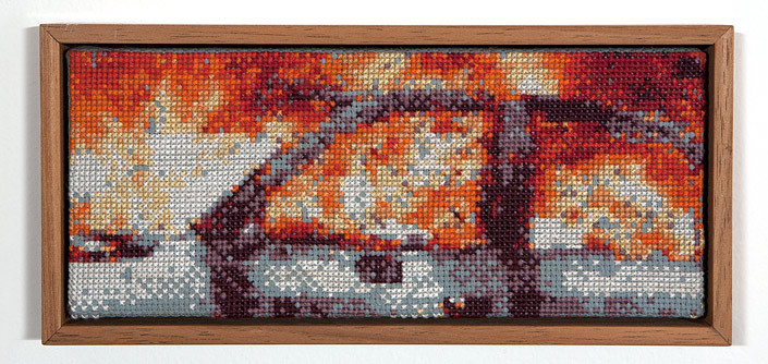 Claire Healy and Sean Cordeiro Tapestry of Disaster, Falluja, 2013; cotton cross stitch ; 9.3 x 20 cm (framed); enquire