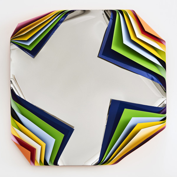 Jim Lambie Metal Box (Rio de Janeiro), 2019; polished steel and aluminium sheets, gloss paint; 80 x 80 x 23 cm; enquire