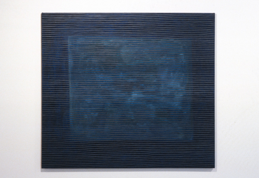 Cathy Blanchflower Grey on Blues, 1993; oil on flax; 152 x 136 cm; enquire